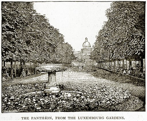 The Pantheon, from the Luxembourg Gardens. Illustration from Old and New Paris by H Sutherland Edwards (Cassell, 1893).
