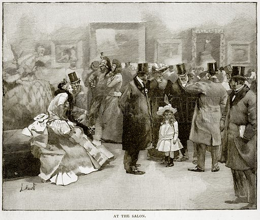 At the Salon. Illustration from Old and New Paris by H Sutherland Edwards (Cassell, 1893).