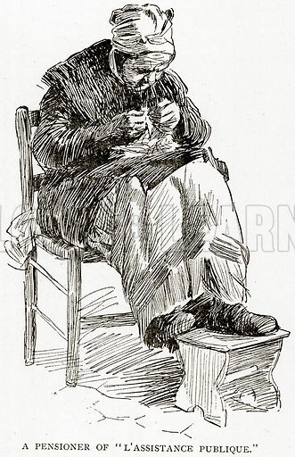 """A Pensioner of """"L'Assistance Publique."""" Illustration from Old and New Paris by H Sutherland Edwards (Cassell, 1893)."""