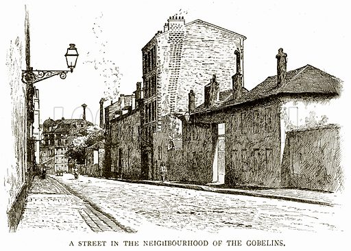 A street in the Neighbourhood of the Gobelins. Illustration from Old and New Paris by H Sutherland Edwards (Cassell, 1893).