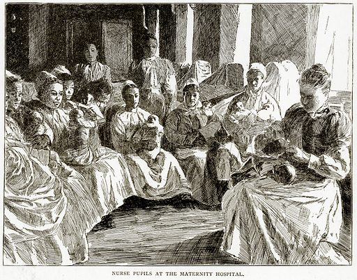 Nurse Pupils at the Maternity Hospital. Illustration from Old and New Paris by H Sutherland Edwards (Cassell, 1893).