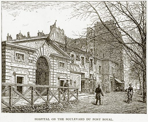 Hospital on the Boulevard du Pont Royal. Illustration from Old and New Paris by H Sutherland Edwards (Cassell, 1893).