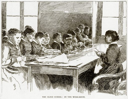 The Blind School: In the Work-Room. Illustration from Old and New Paris by H Sutherland Edwards (Cassell, 1893).