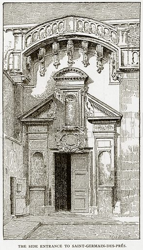 The side entrance to Saint-Germain-des-Pres. Illustration from Old and New Paris by H Sutherland Edwards (Cassell, 1893).