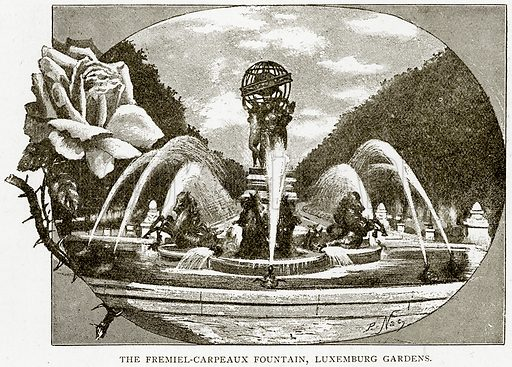 The Fremiel-Carpeaux Fountain, Luxemburg Gardens. Illustration from Old and New Paris by H Sutherland Edwards (Cassell, 1893).