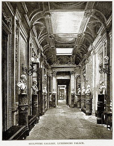 Sculpture Gallery, Luxemburg Palace. Illustration from Old and New Paris by H Sutherland Edwards (Cassell, 1893).