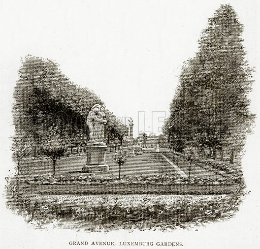 Grand Avenue, Luxemburg Gardens. Illustration from Old and New Paris by H Sutherland Edwards (Cassell, 1893).