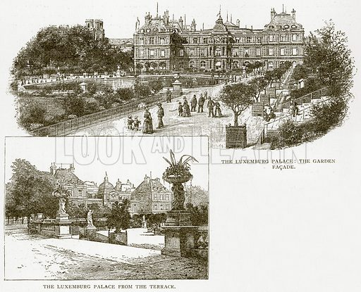The Luxemburg Palace: The Garden Facade. The Luxemburg Palace from the Terrace. Illustration from Old and New Paris by H Sutherland Edwards (Cassell, 1893).