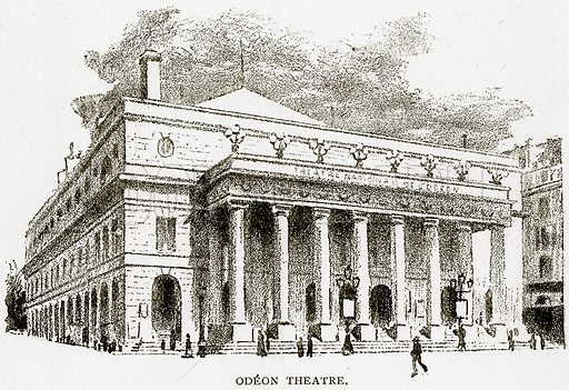 Odeon Theatre. Illustration from Old and New Paris by H Sutherland Edwards (Cassell, 1893).