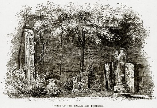 Ruins of the Palais des Thermes. Illustration from Old and New Paris by H Sutherland Edwards (Cassell, 1893).