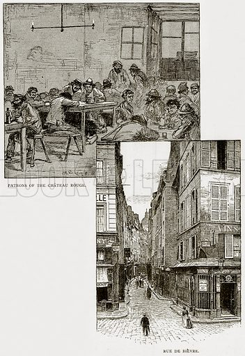 Patrons of the Chateau Rouge. Rue de Bievre. Illustration from Old and New Paris by H Sutherland Edwards (Cassell, 1893).