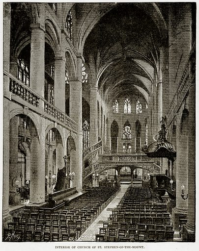 Interior of Church of St Stephen-of-the-Mount. Illustration from Old and New Paris by H Sutherland Edwards (Cassell, 1893).