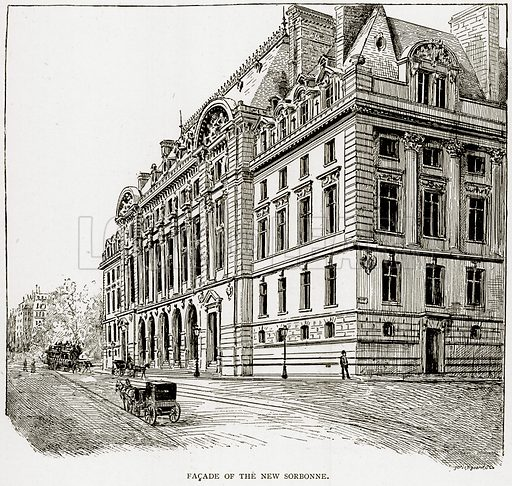 Facade of the New Sorbonne. Illustration from Old and New Paris by H Sutherland Edwards (Cassell, 1893).