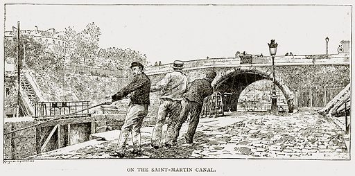 On the Saint-Martin Canal. Illustration from Old and New Paris by H Sutherland Edwards (Cassell, 1893).