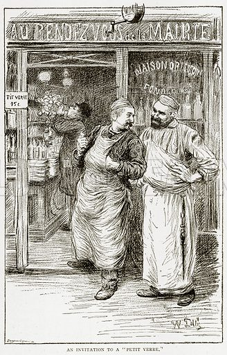 """An invitation to a """"Petit Verre."""" Illustration from Old and New Paris by H Sutherland Edwards (Cassell, 1893)."""