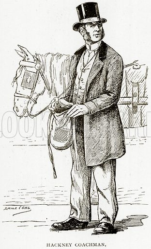Hackney Coachman. Illustration from Old and New Paris by H Sutherland Edwards (Cassell, 1893).
