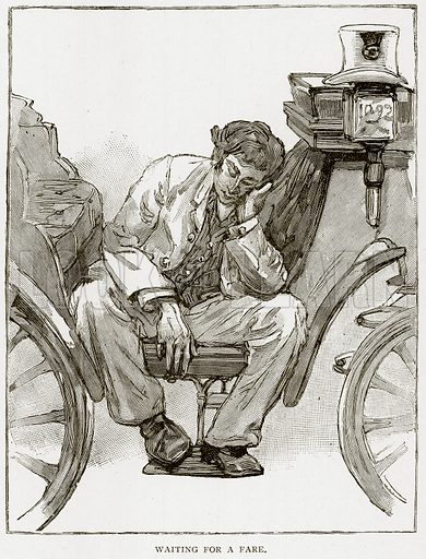 Waiting for a Fare. Illustration from Old and New Paris by H Sutherland Edwards (Cassell, 1893).