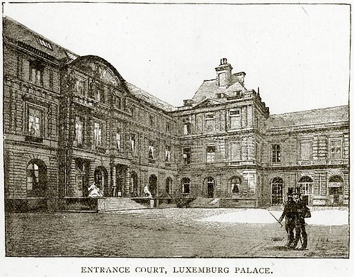 Entrance Court, Luxemburg Palace. Illustration from Old and New Paris by H Sutherland Edwards (Cassell, 1893).