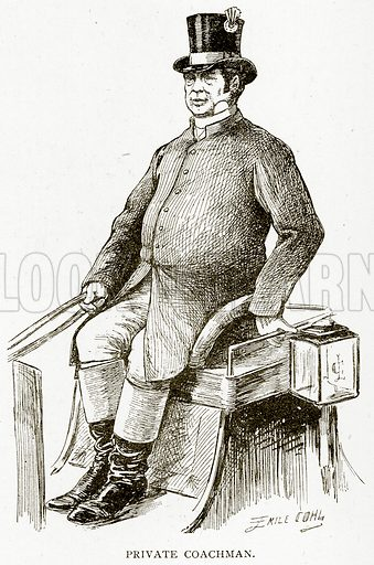 Private Coachman. Illustration from Old and New Paris by H Sutherland Edwards (Cassell, 1893).