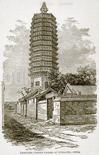 Thirteen-Storied Pagoda at Tung-Cho, China. Illustration from Error