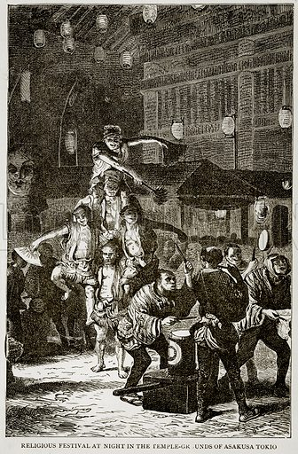Religious festival at night in the Temple-Grounds of Asakusa Tokio. Illustration from Error