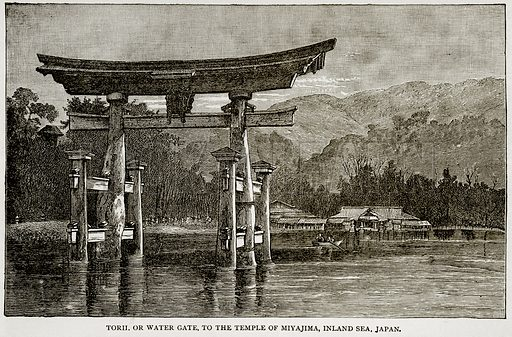 Torii. or Water Gate, to the Temple of Miyajima, Inland Sea, Japan. Illustration from Error's Chains by Frank S Dobbins (Standard Publishing House, 1883).