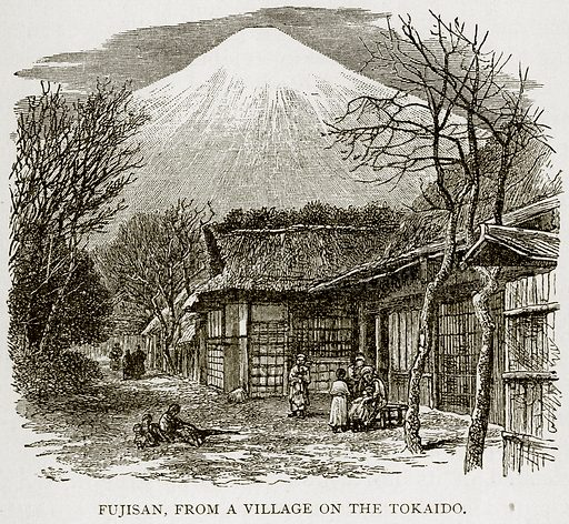 Fujisan, from a Village on the Tokaido. Illustration from Error's Chains by Frank S Dobbins (Standard Publishing House, 1883).