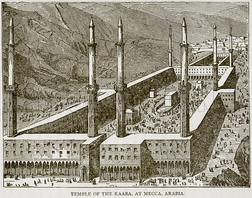 Temple of the Kaaba. at Mecca, Arabia. Illustration from Error