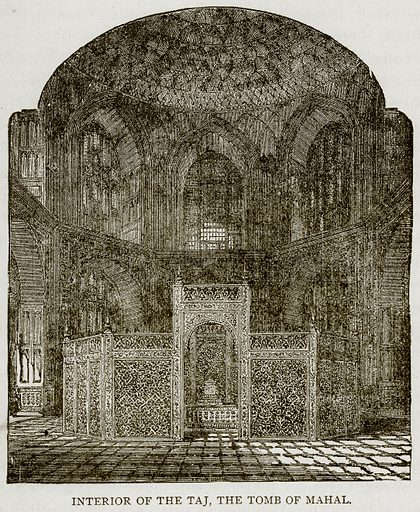 Interior of the Taj, the Tomb of Mahal. Illustration from Error