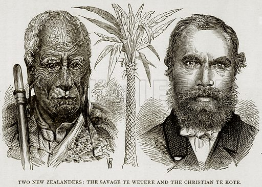 Two New Zealanders: The Savage te Wetere and the Christian te Kote. Illustration from Error