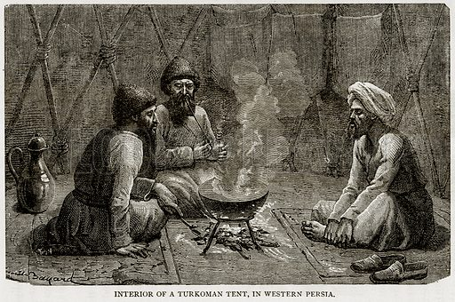 Interior of a Turkoman Tent, in Western Persia. Illustration from Error