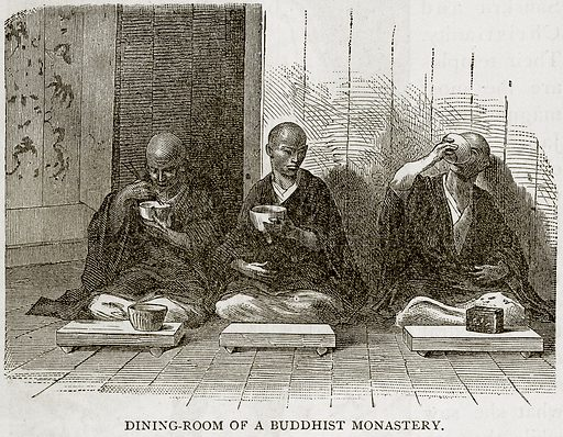 Dining-Room of a Buddhist Monastery. Illustration from Error's Chains by Frank S Dobbins (Standard Publishing House, 1883).
