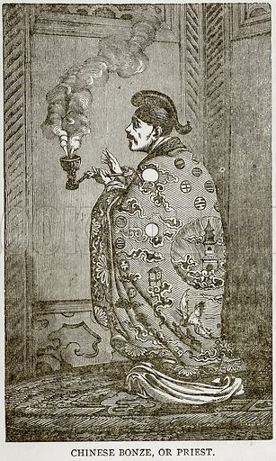 Chinese Bonze, or Priest. Illustration from Error's Chains by Frank S Dobbins (Standard Publishing House, 1883).