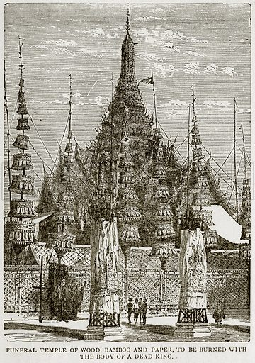 Funeral Temple of Wood, Bamboo and paper, to be burned with the body of a dead King. Illustration from Error
