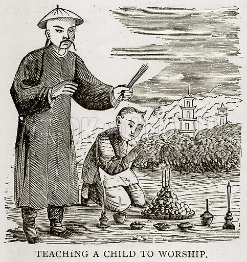 Teaching a child to Worship. Illustration from Error's Chains by Frank S Dobbins (Standard Publishing House, 1883).