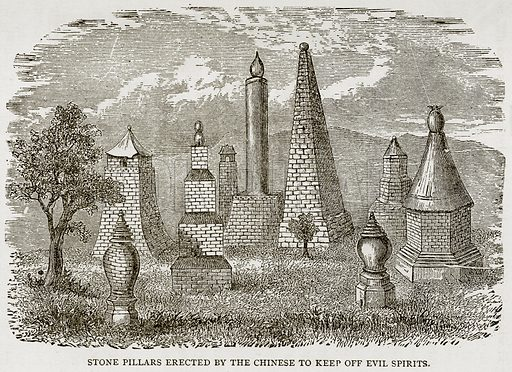 Stone Pillars erected by the Chinese to keep off Evil Spirits. Illustration from Error