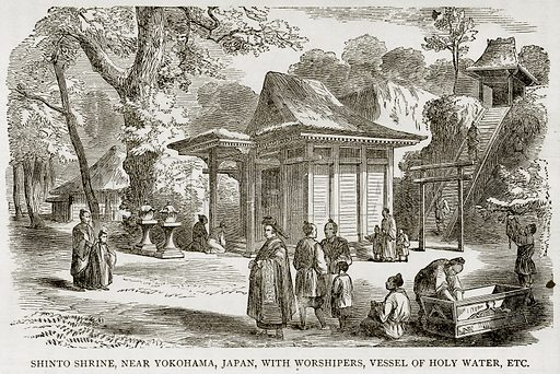Shinto Shrine, near Vokoham, Japan, with Worshipers, Vessel of Holy Water, Etc. Illustration from Error's Chains by Frank S Dobbins (Standard Publishing House, 1883).