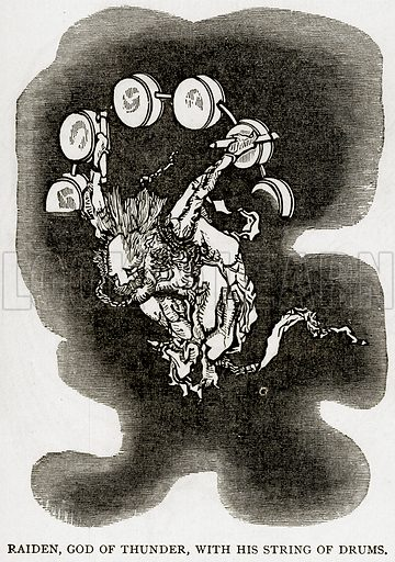 Raiden, God of Thunder, with his String of Drums. Illustration from Error