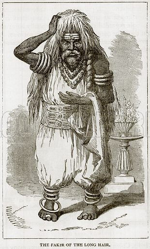 The Fakir of the long hair. Illustration from Error's Chains by Frank S Dobbins (Standard Publishing House, 1883).