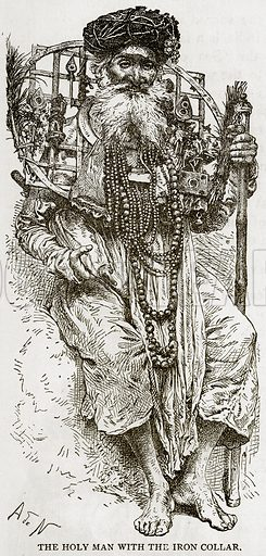 The Holy Man with the Iron Collar. Illustration from Error's Chains by Frank S Dobbins (Standard Publishing House, 1883).