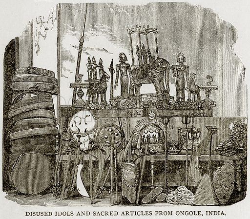 Disused Idols and sacred articles from Ongole, India. Illustration from Error