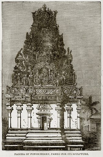 Pagoda of Pondicherry, famed for its sculpture. Illustration from Error's Chains by Frank S Dobbins (Standard Publishing House, 1883).