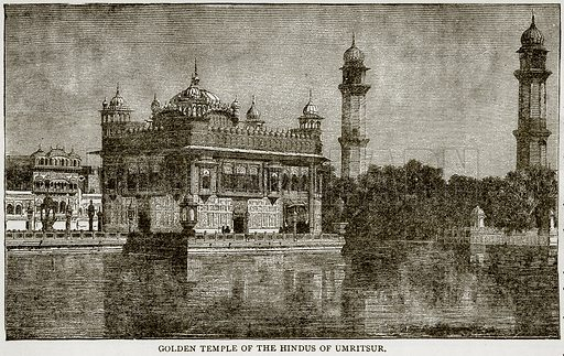 Golden Temple of the Hindus of Umritsur. Illustration from Error's Chains by Frank S Dobbins (Standard Publishing House, 1883).