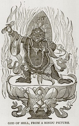 God of Hell, from a Hindu Picture. Illustration from Error's Chains by Frank S Dobbins (Standard Publishing House, 1883).