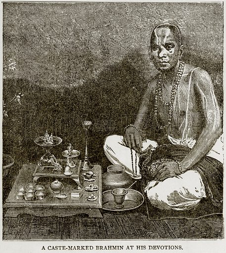 A Caste-Marked Brahmin at his Devotions. Illustration from Error's Chains by Frank S Dobbins (Standard Publishing House, 1883).