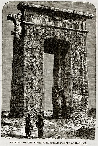 Gateway of the Ancient Egyptian Temple of Karnak. Illustration from Error's Chains by Frank S Dobbins (Standard Publishing House, 1883).