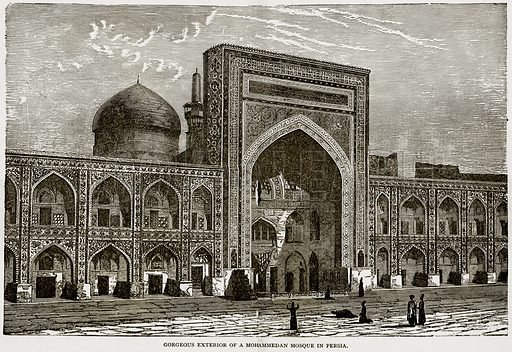 Gorgeous exterior of Mohammedan Mosque in Persia. Illustration from Error