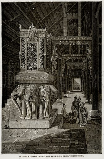Altar of a Chinese Pagoda, near the Kin-Cha River, Western China. Illustration from Error