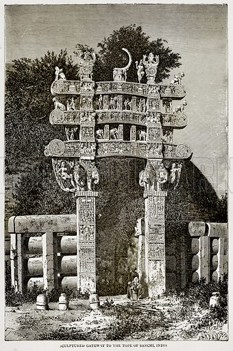 Sculptured Gateway to the Tope of Sanchi, India. Illustration from Error's Chains by Frank S Dobbins (Standard Publishing House, 1883).