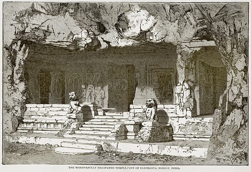The Wonderfully Excavated Temple-Cave of Elephanta, Bombay, India. Illustration from Error's Chains by Frank S Dobbins (Standard Publishing House, 1883).
